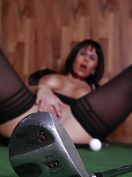 Desyra showing pussy golfing in Wolford Velvet de Luxe 50 Stay Ups
