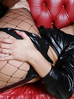 Girl in leather wants to fuck a guy fastened.