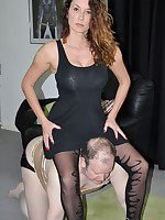 Nylon loving submissive can't keep his hands off of her stocking clad legs
