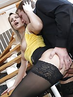 Samantha Jolie fucking miniskirt and black nylons