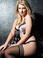 Jess Davies in silver blue lingerie