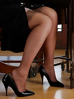 Real secretaries in stockings and pantyhose only at Office Erotic