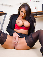 Horny Secretary Lucy Devine Shows Her Hot Assests in Stockings and Suspenders