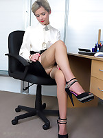 Office glamor girl Elle Richie in satin lingerie does everything to make her boss happy