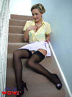 Sexy Pin-up Jodie Gasson strips from miniskirt and stockings on the stairs