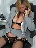 Sheer panty secretary turned on