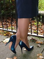 Blonde Milf Iona is teasing outdoors in a lovely pair of blue high heels