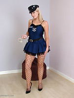 Sexy Cop Larissa puts you under arrest in her handcuffs, fishnets and high heels