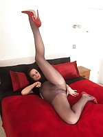 Slutty Kelly in sheer to waist pantyhose and black mini dress!